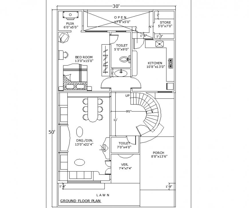 Ground floor plan of bungalow drawing in dwg file.