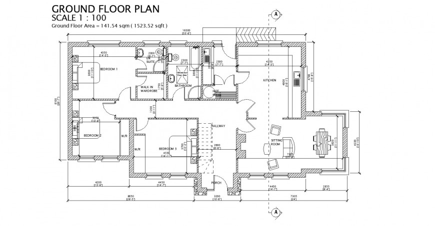 Ground floor plan of house with 141.54 sqm area drawing in dwg AutoCAD file.