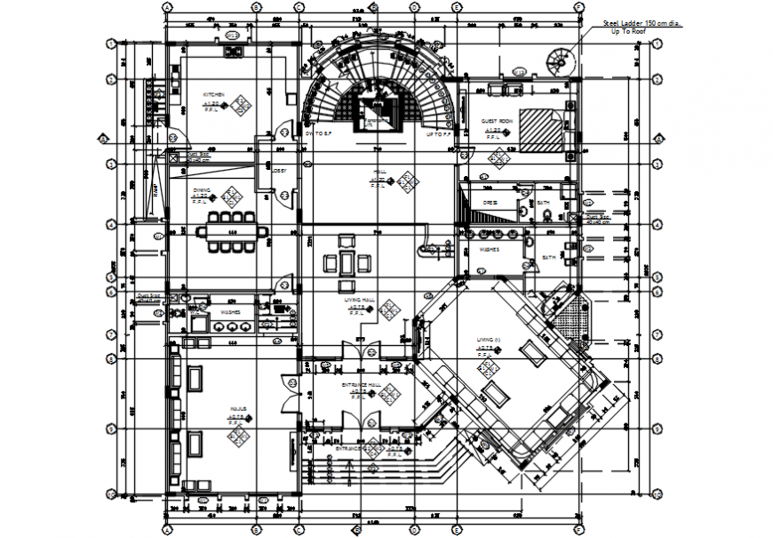 Ground floor plan of multifamily house drawing
