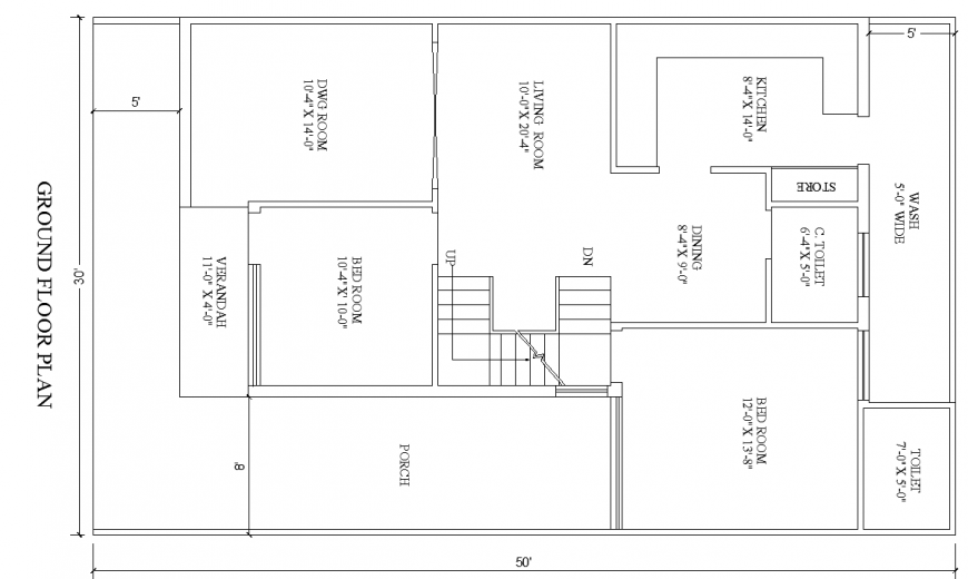 Ground floor plan of the villa in dwg AutoCAD file.