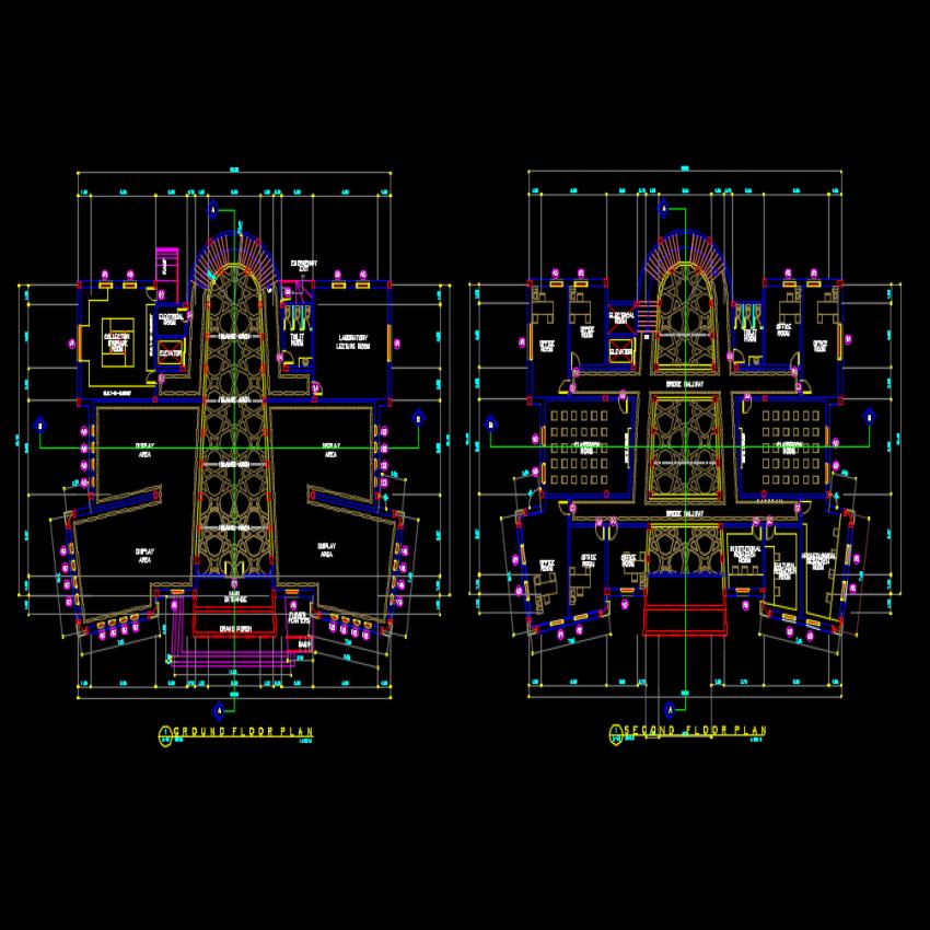 Ground floor to second floor Islamic type museum autocad file