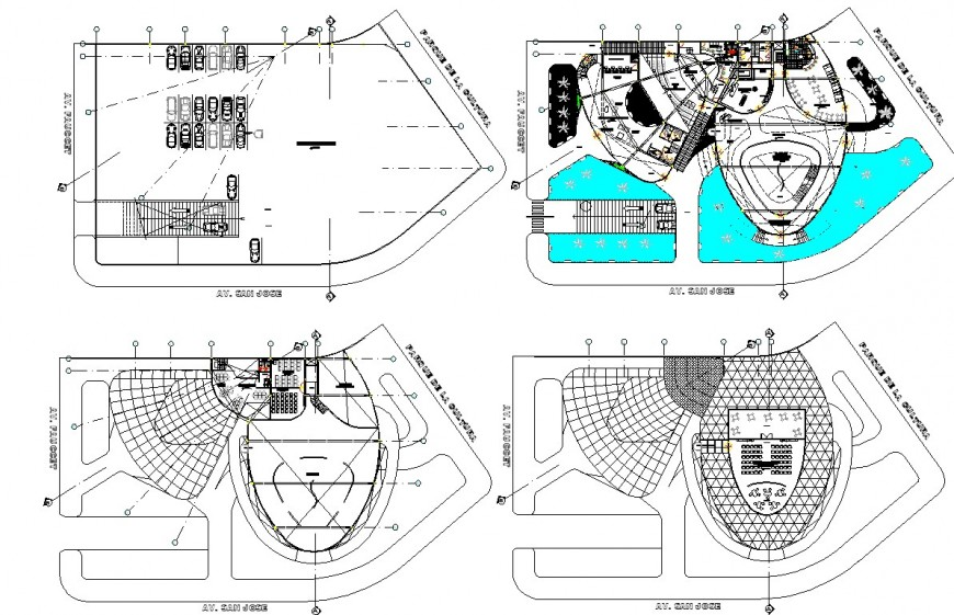 Ground floor to terrace floor commercial office plan autocad file