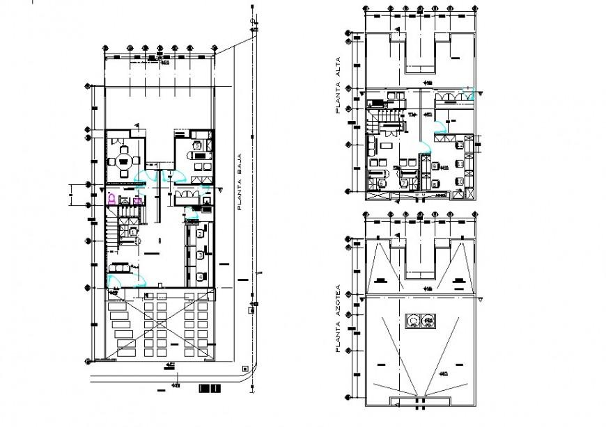 Ground floor to terrace floor home plan detail dwg file