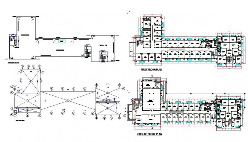 Ground floor to terrace floor shop detail dwg file