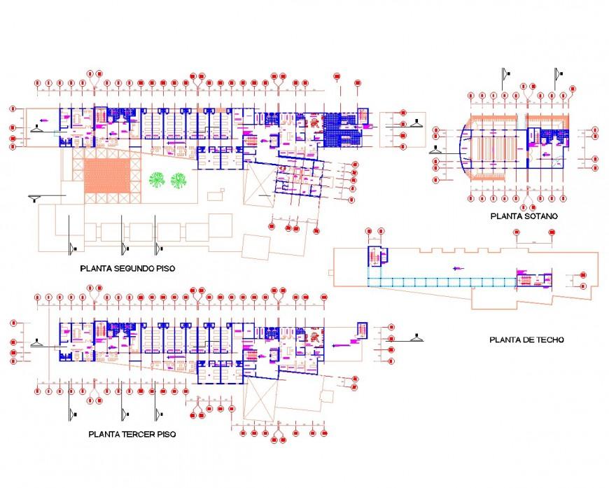Ground floor to terrace hospital plan autocad file