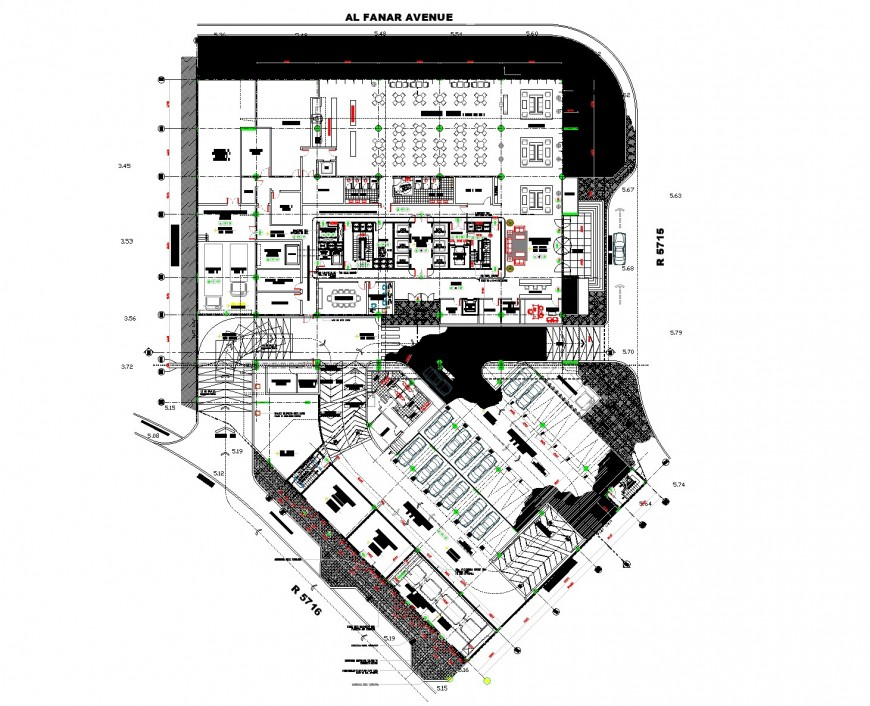 Ground floor tower commercial building autocad file