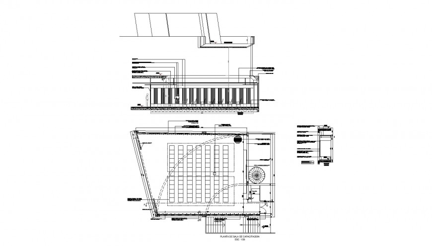 Ground floor training room detail drawing in dwg AutoCAD file.