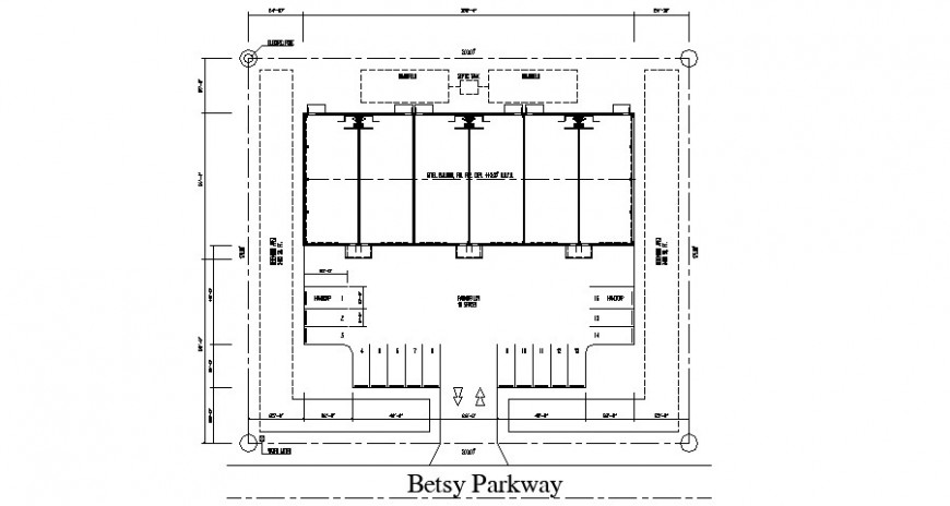 Ground parking floor plan of house cad drawing details dwg file