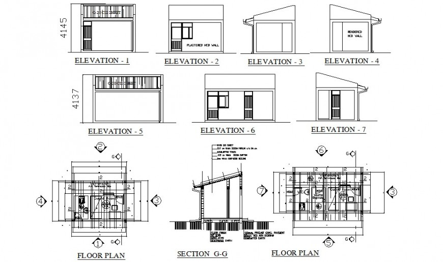 Guard house elevations, section and plan cad drawing details dwg file