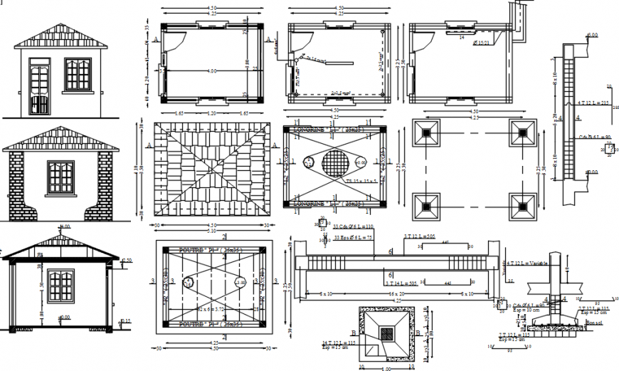 Guard house elevations, sections and structure details dwg file