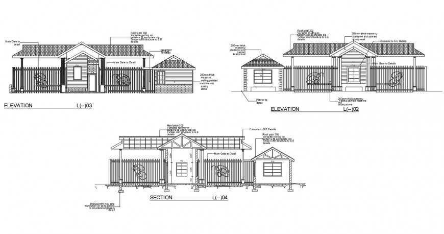 Guard house main and back elevation and main section cad drawing details dwg file