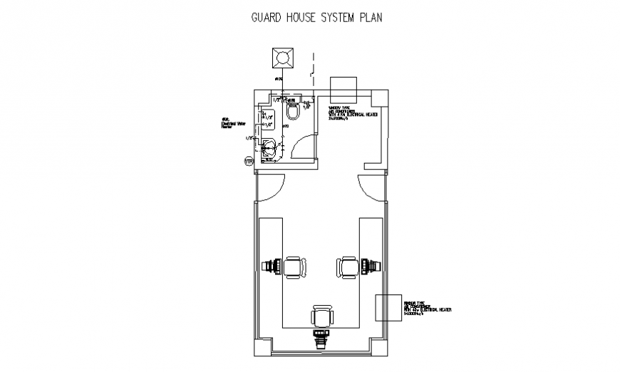 Guard house system planning autocad file