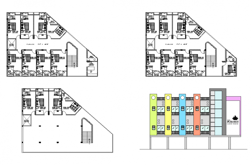 Guest-house building detail elevation and plan 2d view layout dwg file