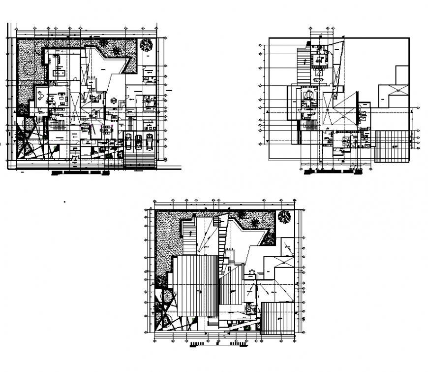 Guest-house building detail plan 2d view layout autocad file
