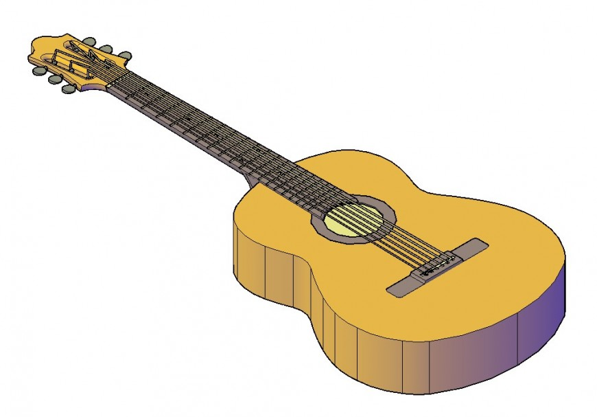 Guitar detail 3d model layout CAD blocks file in autocad format