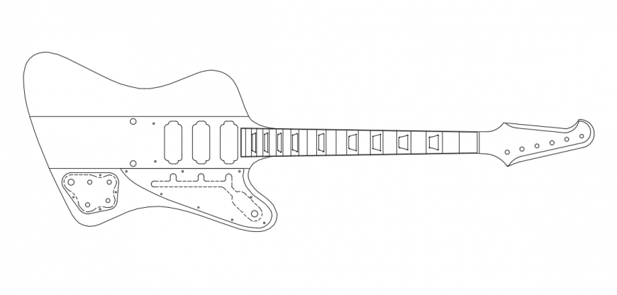 Guitar Parts Drawing plan design draw in DWG File