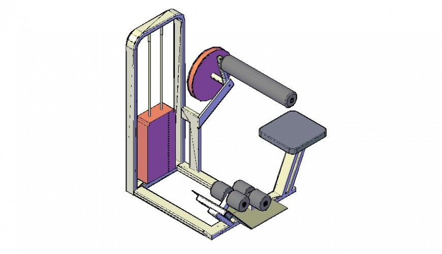 Gym equipment Ab benchc detail dwg file