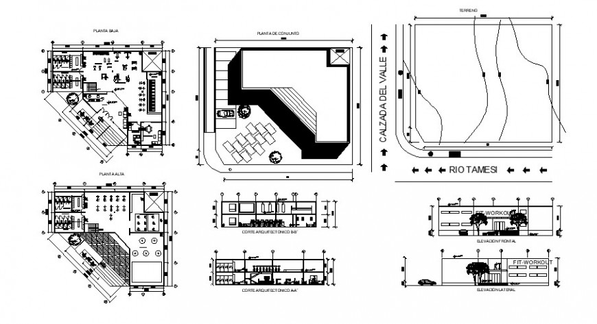 Gym store elevation, section, plan and structure drawing details dwg file