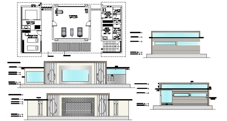 Gyming building 2d view plan and elevation autocad software file