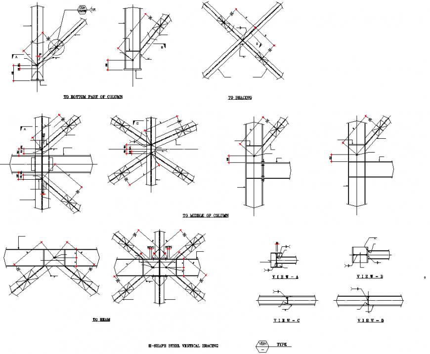 H – shape steel vertical bracing section autocad file