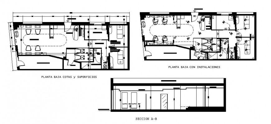 Hair salon store section, layout plan and electric installation cad drawing details dwg file