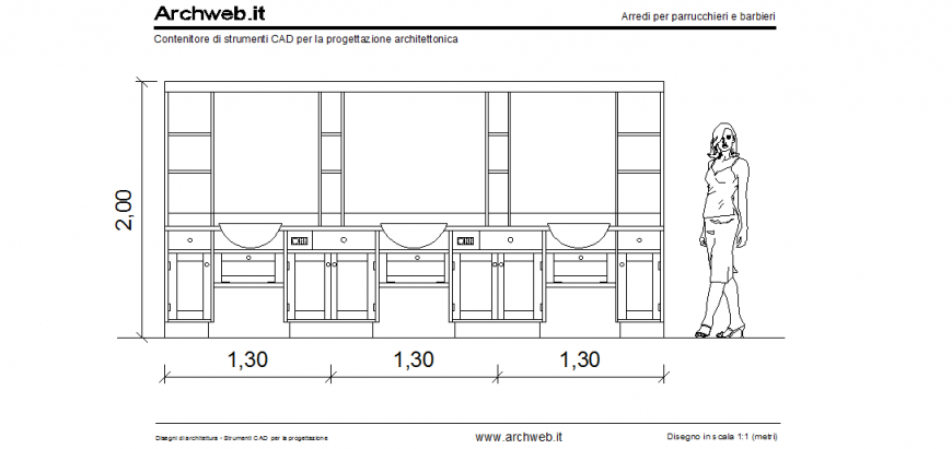 Hairdressing salon store elevation dwg file