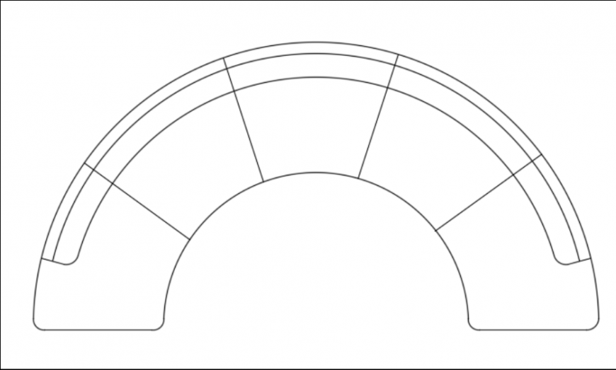 Half circle sofa top view