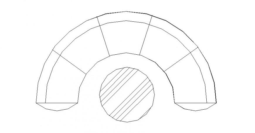 Half circular sofa set elevation block with center table dwg file