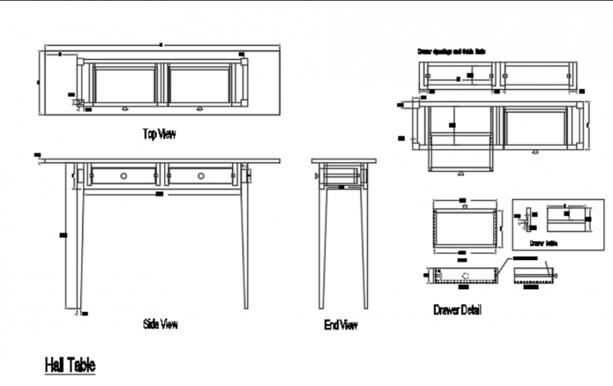 Hall table sectional details