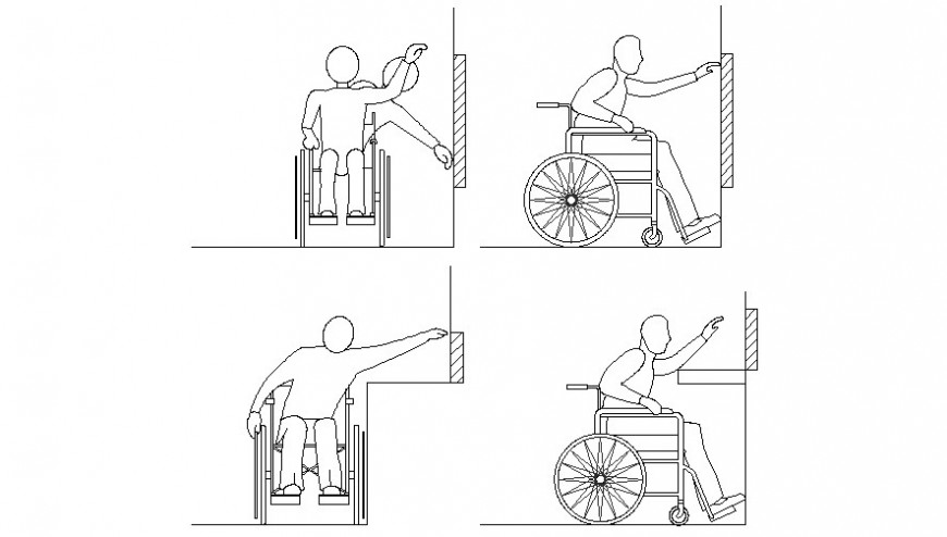 Handicapped person signs and symbol 2d view autocad file
