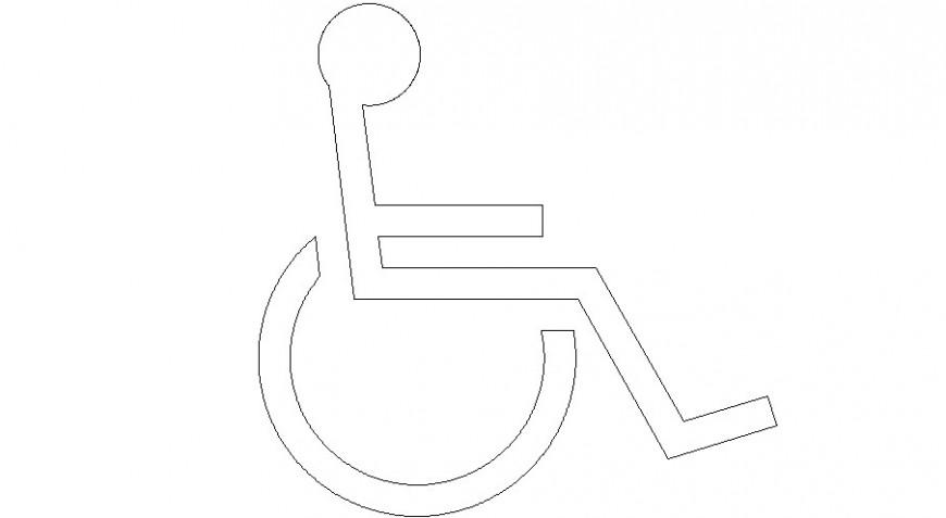 Handicapped symbol sign details 2d view autocad file