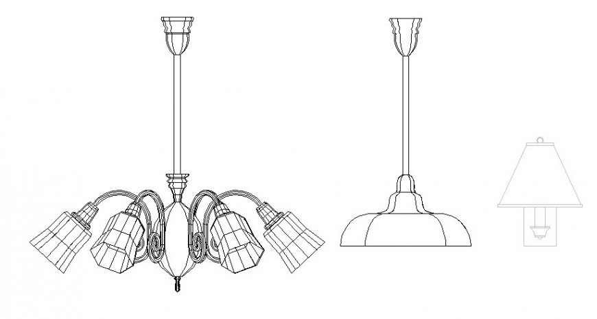 Hanging ceiling lamps cad drawing details dwg file
