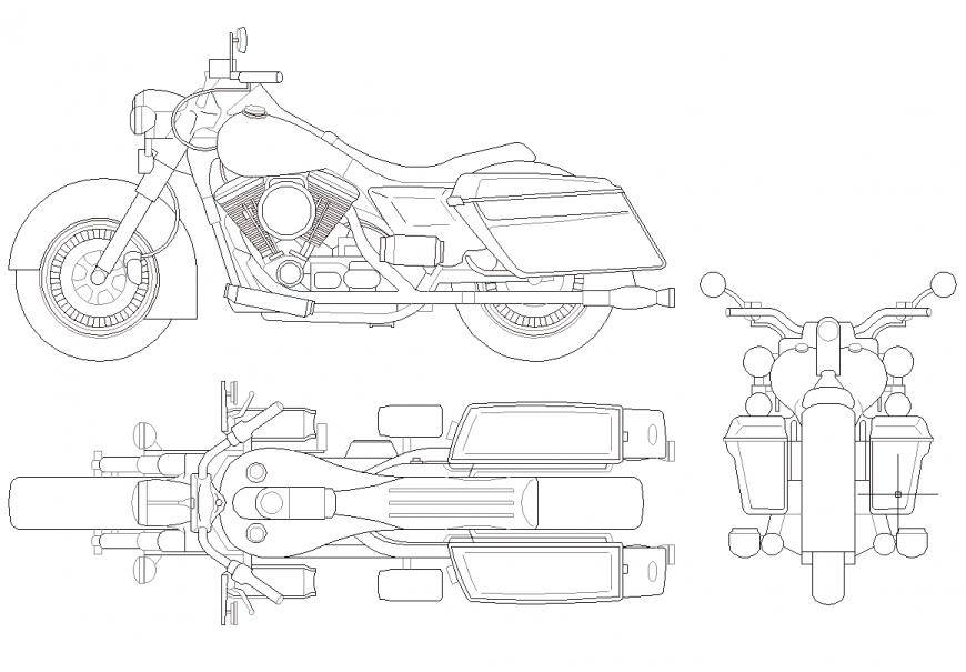 Harley Davidson bike plan,elevation and rear view dwg file