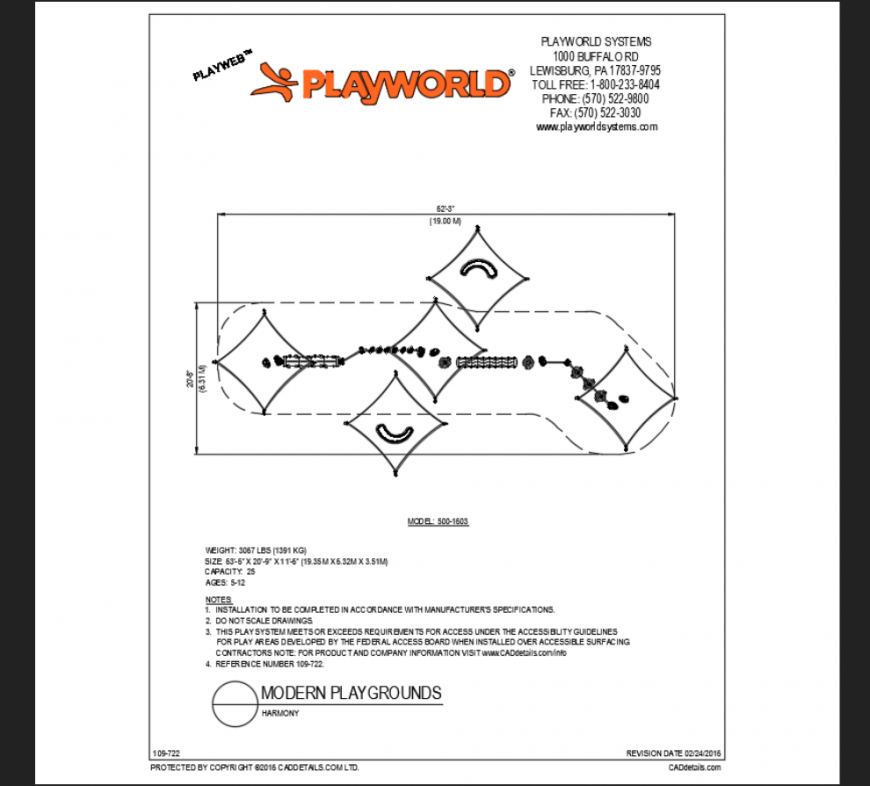 Harmony modern playground play area structure of theme park details dwg file