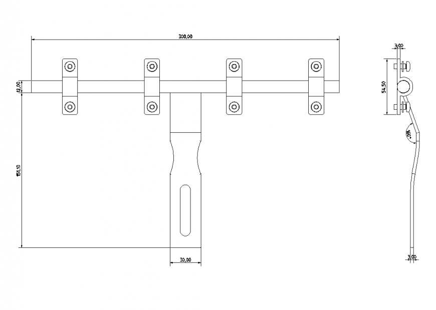 Hasp and staple plan dwg file