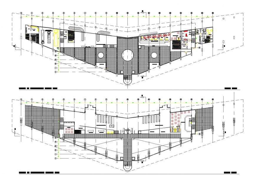 Hatching commercial building plan autocad file