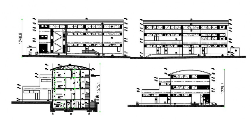 Head office building of coffee company elevation and sections drawing details dwg file