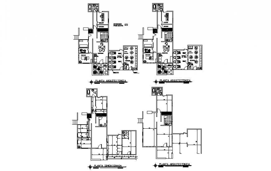 Health care type salon with boutique floor plan details dwg file