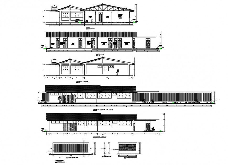 Health center all sided elevation and sectional details dwg file