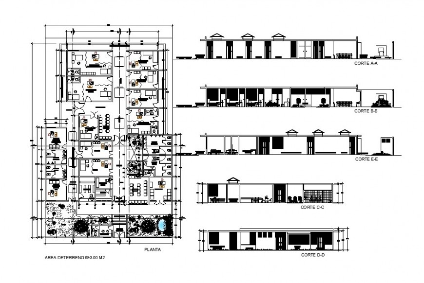 Health center building all sided section and distribution plan cad drawing details dwg file