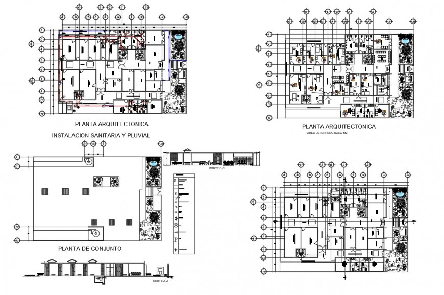 Health center building section and floor plan distribution plan cad drawing details dwg file
