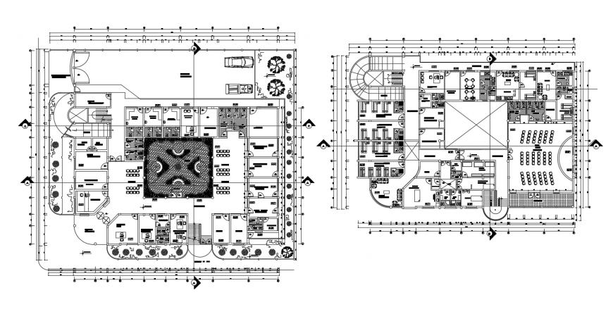 Health center floor plan distribution cad drawing details dwg file