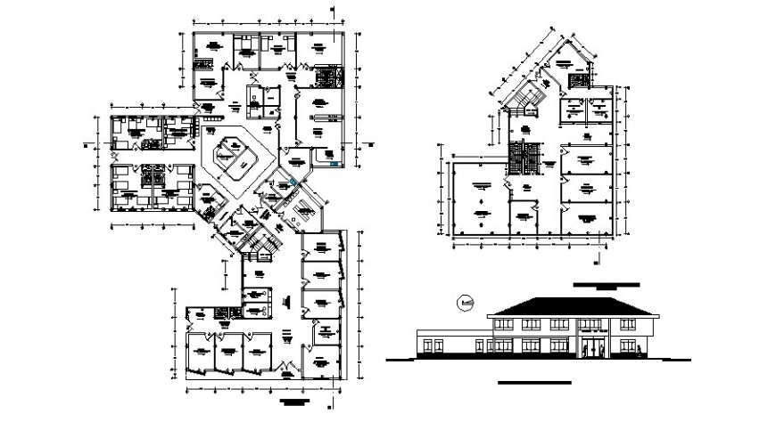 Health center main elevation with ground and first floor plan cad drawing details dwg file
