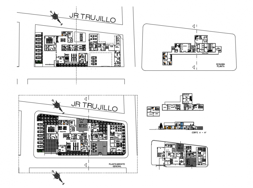 Health center section, distribution plan and floor plan details dwg file
