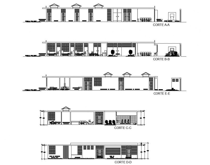 Health Centre different section view in auto cad file