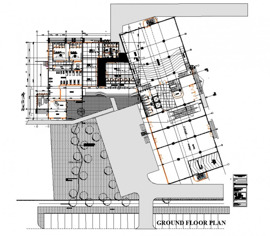 Health club building detail plan 2d view layout autocad file