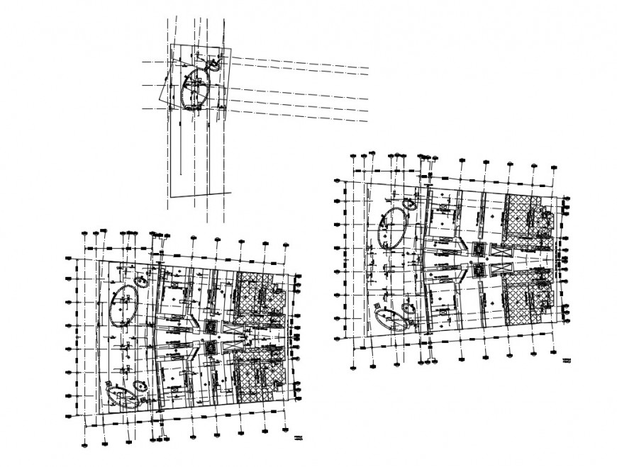 Health club hospital ground and first floor plan cad drawing details dwg file