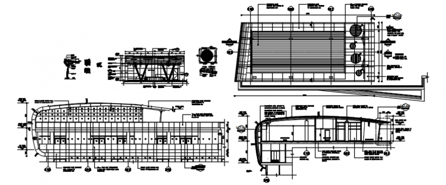 Health club plan and elevation with roof plan in AutoCAD