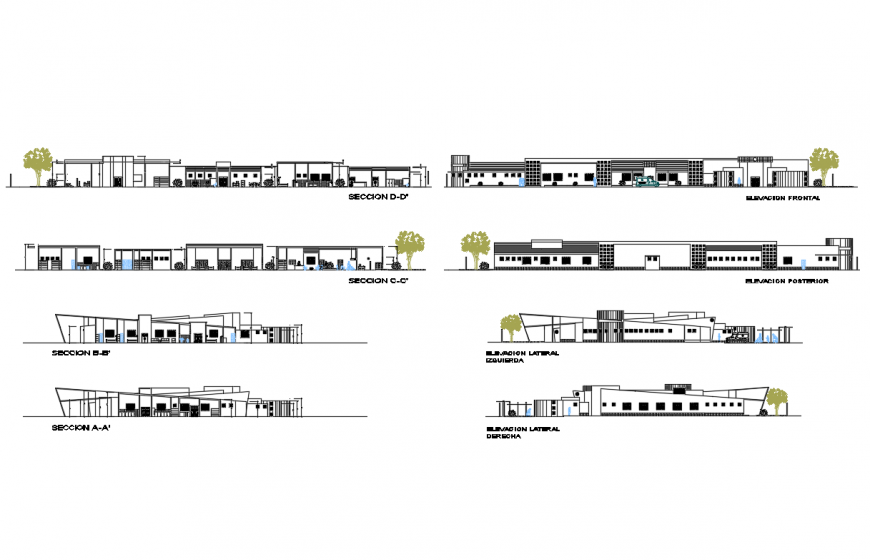 Health hospital facade, back and side elevation and section cad drawing details dwg file