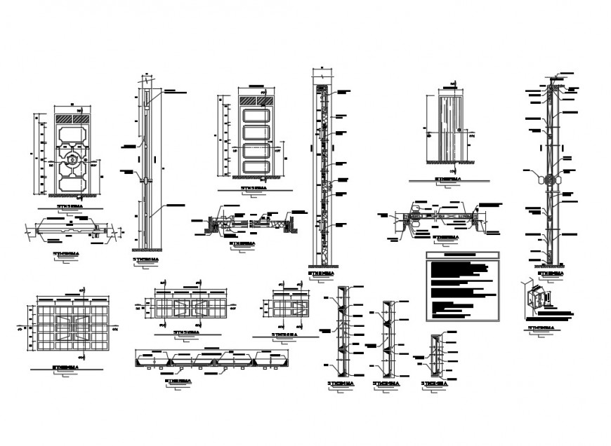 Health post doors and windows elevation and installation details dwg file